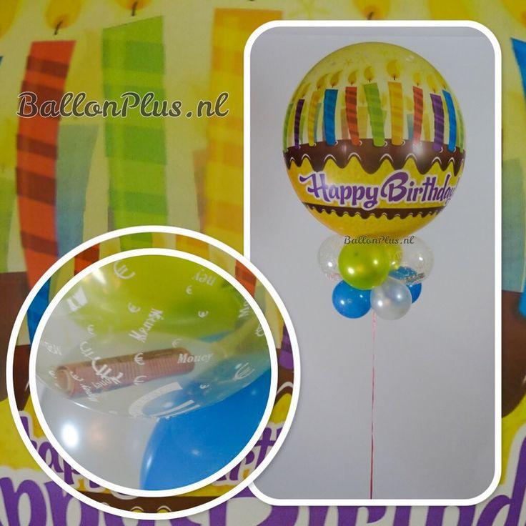 Origineel Kado - Bubbles ballon-Happy Birthday - taart - met  kaarsjes - deco ballon - met € ballonnen om geld in te doen - van BallonPlus.nl
