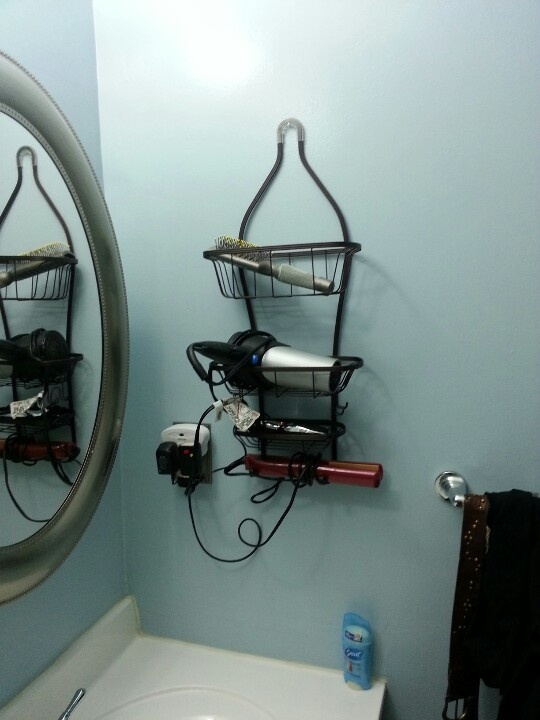 Shower caddy to get hair appliances up off the counter - Which uses more water bath or shower ...