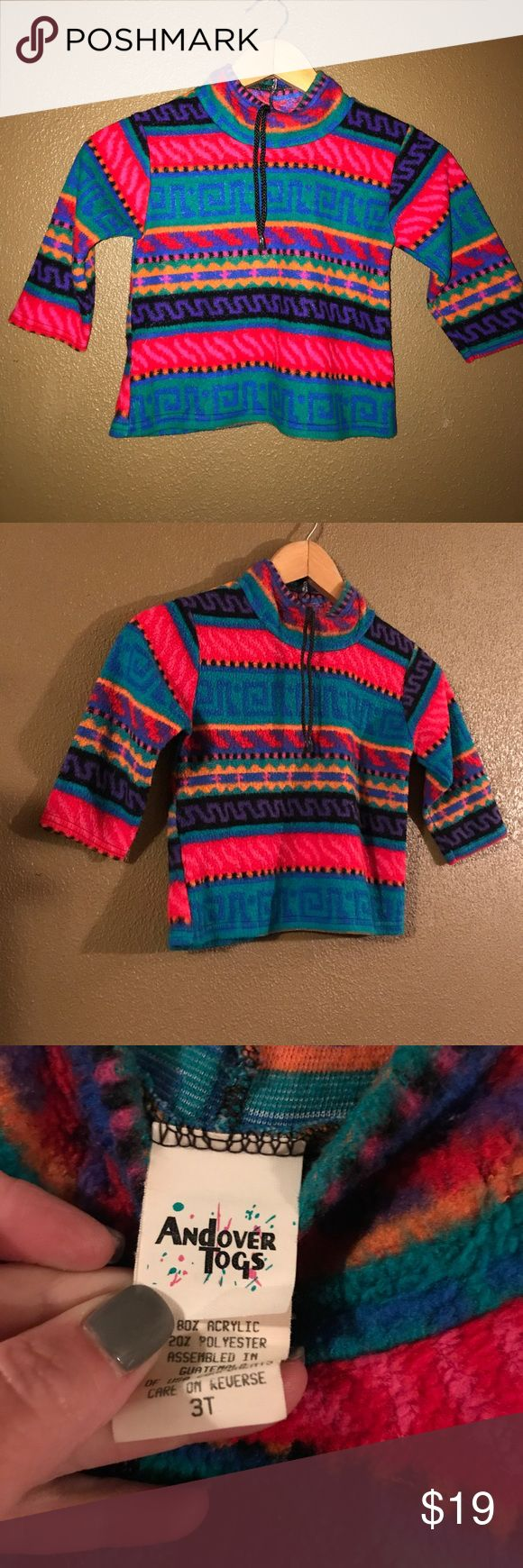 Vintage fleece pullover Size 3T by Andover Togs. (True to size). Super soft & warm. Still in great condition! Very trendy pullover ✌🏻Posting in girls, but colors would be suitable for boy, too. Vintage Shirts & Tops