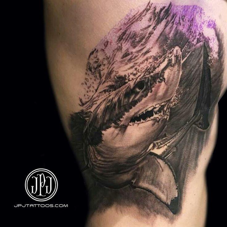 Shark tattoo I want on side of my body. I want a great white shark.