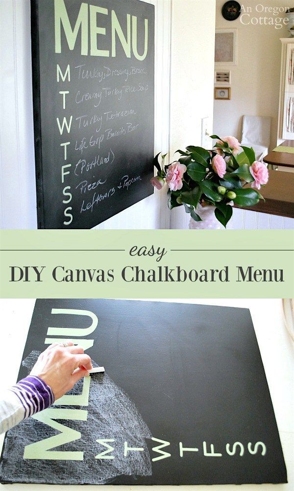 Keep track of your weekly menu with this easy DIY canvas chalkboard menu that looks as good as it is useful.