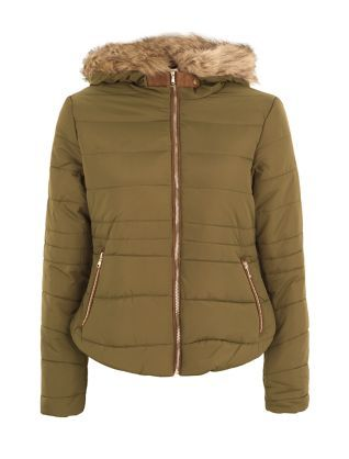 Khaki Faux Fur Trim Padded Jacket | New Look