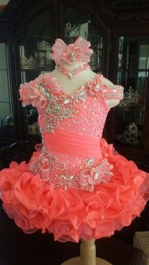 Real Image Handmade Flower Crystal Bead Sequins Ruffles Ball Gown Little Girls Pageant Dresses Coral Organza Cute Flower Girl Dress Chic Gowns 2014 Infant Dress From Wedding_garden, $95.82| Dhgate.Com