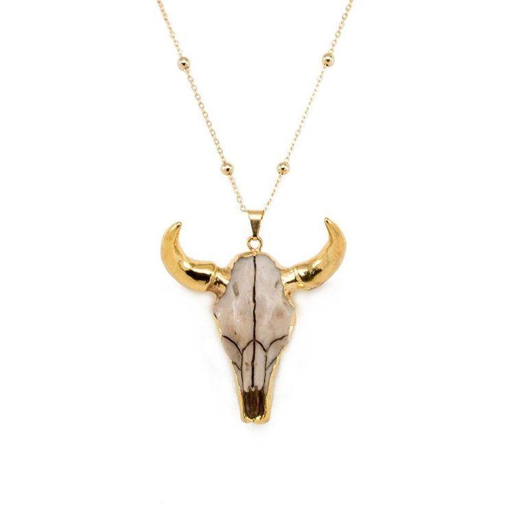 Gold Horned Skull Necklace