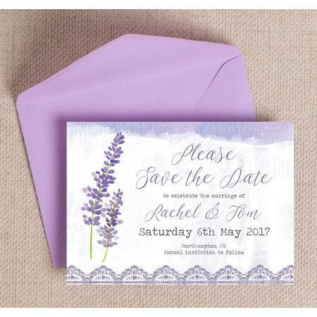 Save the date of your wedding in the sweetest way with these Lilac & Lavender Save The Date cards, featuring a pretty lilac colour palette, this design is suited to the wedding celebration with a pastel purple or lilac colour scheme. Buy online with free delivery or print at home with a downloadable PDF.