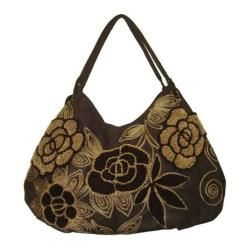 Women's Hobo Embroidered Bag Brown/Brown Flowers
