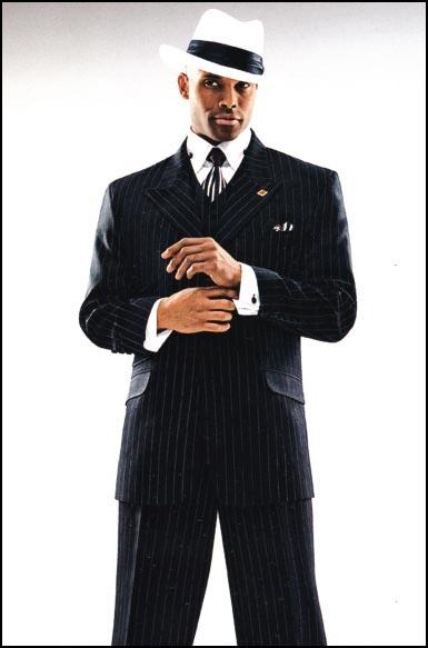 Men's Suits 3 Piece Stripe Stacy Adams Suit 1930's