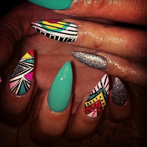 Stiletto nails+ bomb designs