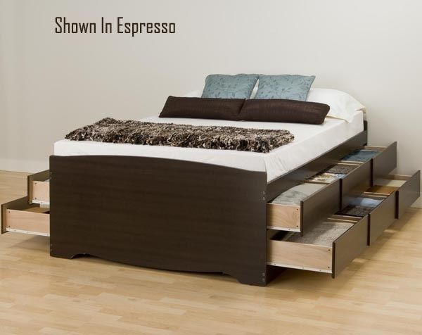 Bedroom Dark Brown Wooden Double Bed With Storage Besides Brown White  Leather Blanket Brown Pillows Blue
