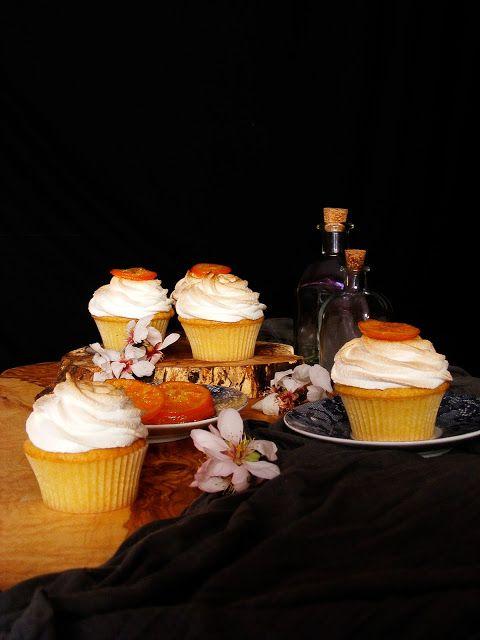 La asaltante de dulces: Receta de cupcakes de mandarina y merengue/ Tangerine & meringue cupcakes recipe