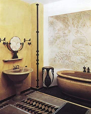 Art Deco bathroom design by Armand-Albert Rateau for Jeanne Lanvin, Paris, 1920–22; in the Musée des Arts Décoratifs, Paris.