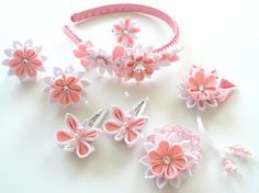 Flores de tela Kanzashi. Set de 8 piezas. Rosa y blanco. por JuLVa