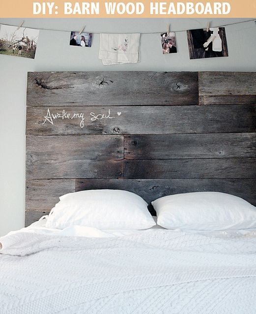 Barn Wood Headboard DIY by 508 Restoration & Design, via Flickr  digging the old wood and the pictures strung across and the saying written on the headboard.