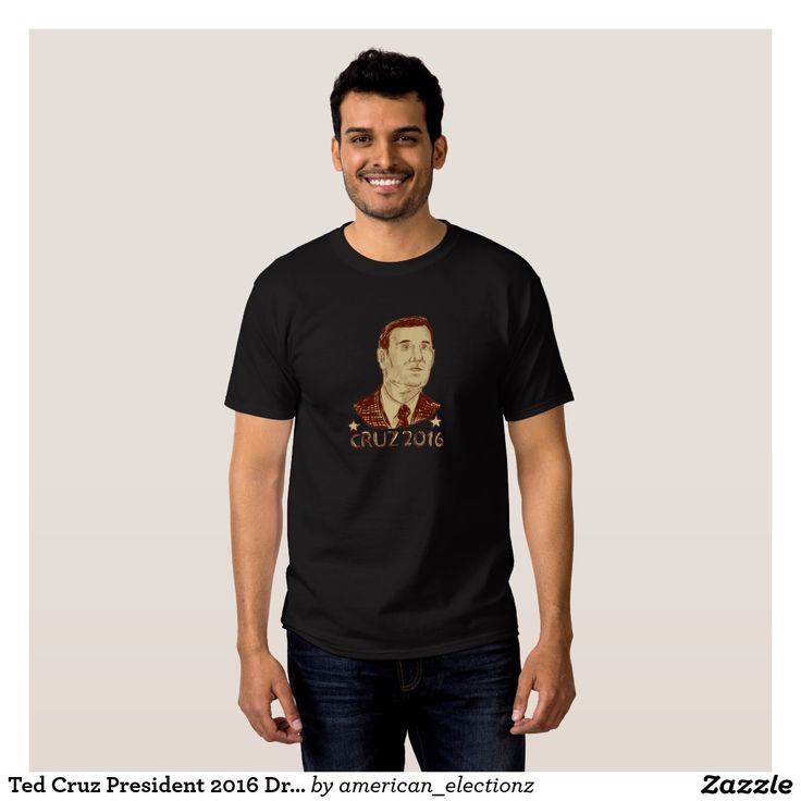 Ted Cruz President 2016 Drawing T-shirt. American elections men's t-shirt with a sketch style illustration showing Rafael Edward Ted Cruz, an American senator, politician and Republican 2016 presidential candidate set inside crest shield with words Cruz 2016. #Cruz2016 #republican #americanelections #elections #vote2016 #election2016