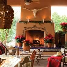 Fireplace - Hacienda-Style Home Woos With Regional Appeal - Phoenix Home & Garden