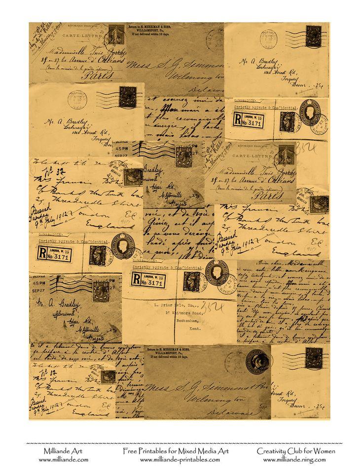 Vintage Letters Free Collage Sheets Milliande printables