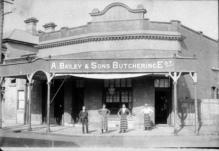 Butchers outside shop - Singleton, NSW 1920s Australia