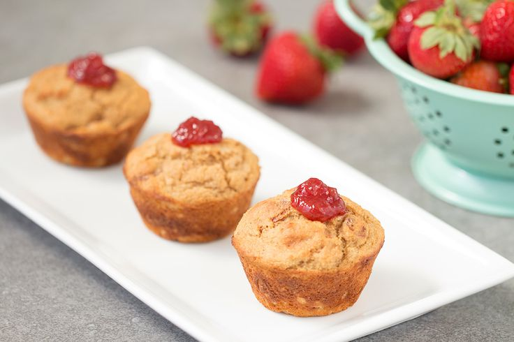 PB&J Protein Muffins 1/12th of recipe (1 muffin): 110 calories, 1.5g total fat (0.5g sat fat), 233mg sodium, 18.5g carbs, 3.5g fiber, 6.5g sugars, 8.5g protein   SmartPoints® value 3*