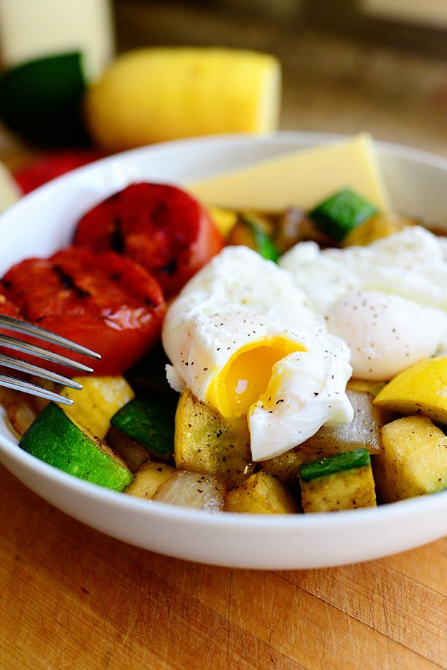 Carb Buster Breakfast - poached eggs, veggies, melty cheese
