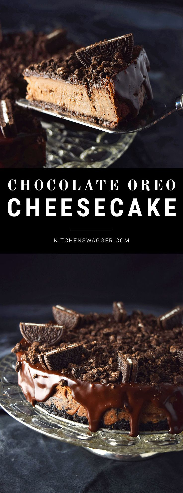 Easy and rich chocolate Oreo cheesecake recipe.