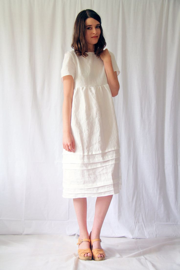 A sweet choice for a simple ceremony. The Appleyard Pintuck Dress in Linen. $186.00.