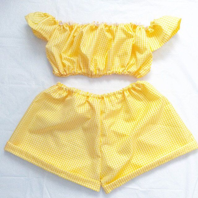 handmade yellow gingham crop top shorts co ord set