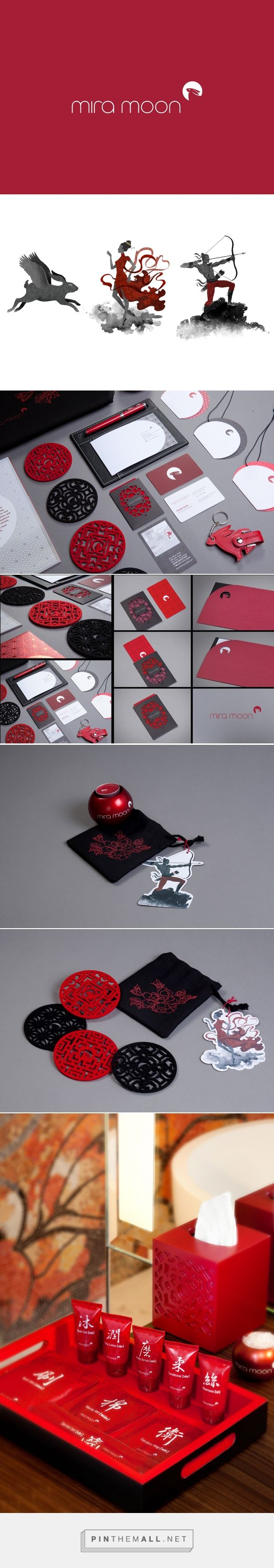 Mira Moon Hotel Branding collaterals, amenities, packaging on Behance by Alex Lau curated by Packaging Diva PD. Drawing inspiration from the Moon Festival fairytale that tugs at the public's heartstrings, Jade Rabbit and the moon are the key elements for Mira Moon's style-savvy brand identity.
