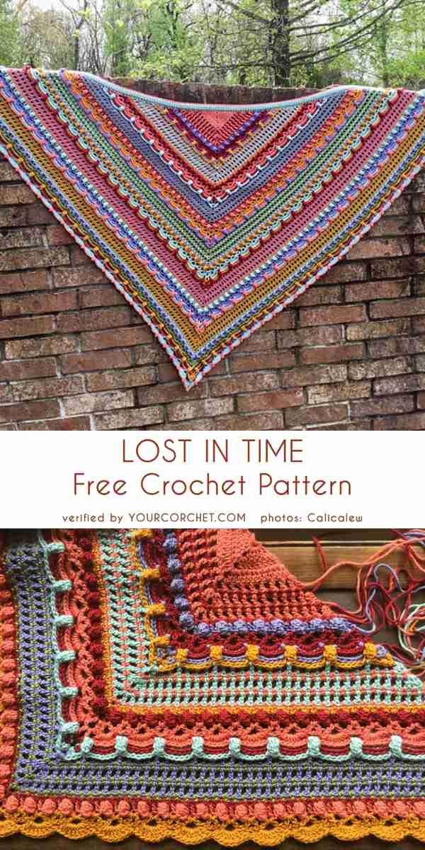 Lost In Time Shawl Shawl Crochet Pattern Triangle Scarf Crochet Pattern Crochet Shawl Pattern Free