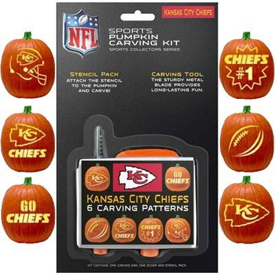 #Fanatics  Kansas City Chiefs Pumpkin Carving Kit.... And I've been free hand carving KC pumpkins since I was 10.. If only I'd known about this lol