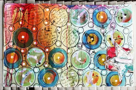 Make a bunch of circles to fill up your page, then fill the circles with paint, watercolor crayons, scraps of paper, or journaling!