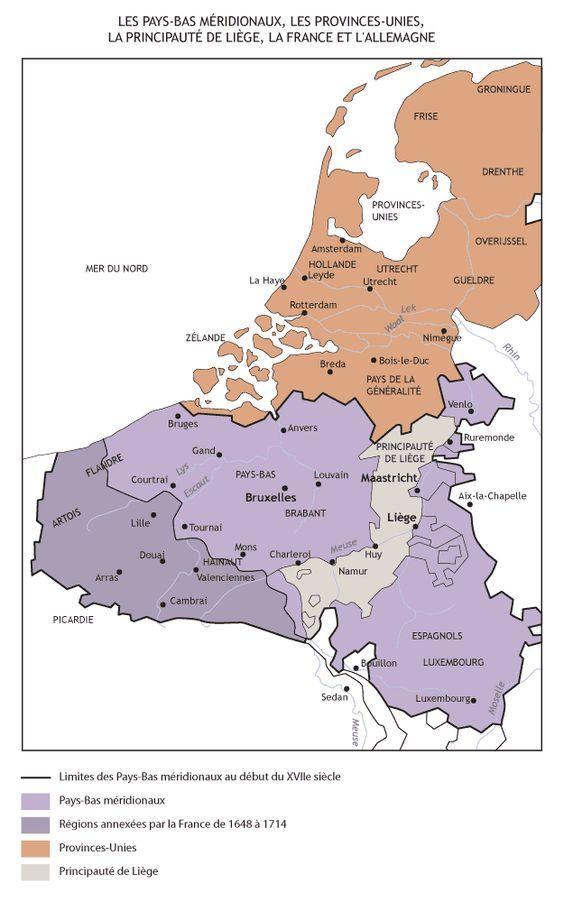 Carte Europe Pays Bas.Carte Des Pays Bas Meridionaux Des Provinces Unies Et De La