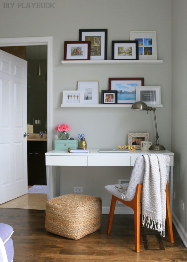 If you live in a small home, then you might not have a room for an office. You can still create a functional office area like this one! Love this small work space.