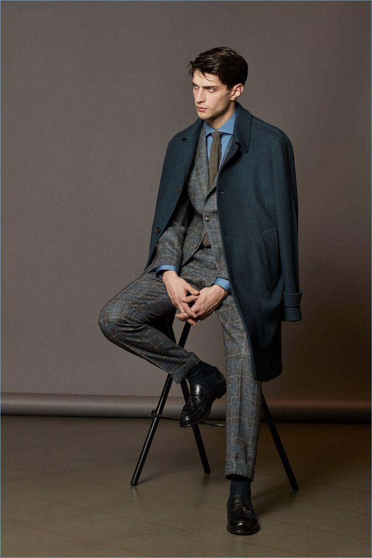 A sharp vision, Matthew Bell wears a textured coat and wool suit from Boglioli's fall-winter 2017 collection.