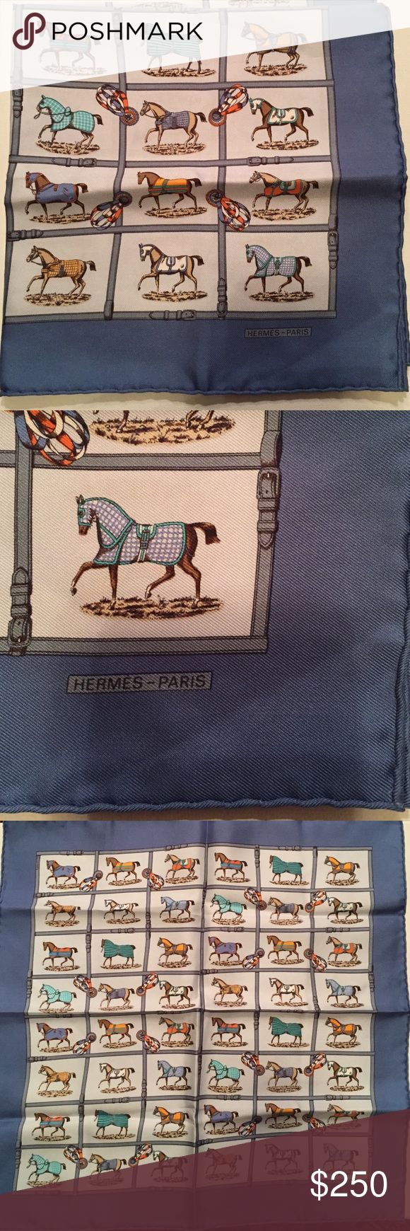 "Authentic HERMES Men's Equestrian Silk Square Authentic HERMES silk pocket square. Beautiful equestrian design. Never used - original fold and fabric tag. 16.5 X 16.5"" Hermes Accessories Pocket Squares"