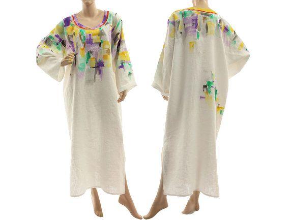 Boho artsy linen maxi dress caftan long white von classydress