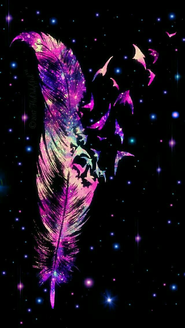 Sparkle feather galaxy iPhone/Android wallpaper I created for the app CocoPPa. | Fondos de ...