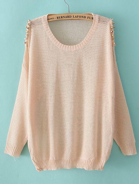 Pink Off the Shoulder Rivet Pullover Sweater - Sheinside.com