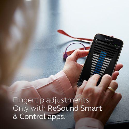 Fingertip adjustments. Only with ReSound Smart & Control apps. Visit resound.com/en-AU/hearing-aids/apps