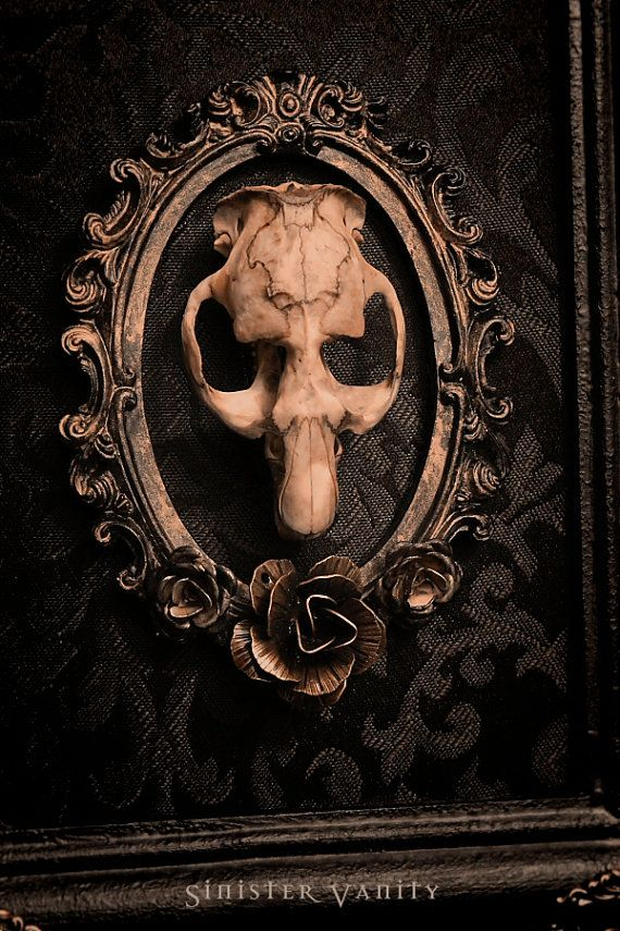 Gothic Taxidermy Skull Victorian Ornate Muskrat Ros Black Damask Wall Art Plaque Hanging Frame