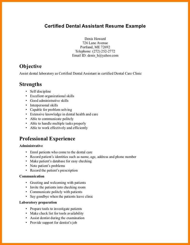 Image result for resume for dental assistant entry level
