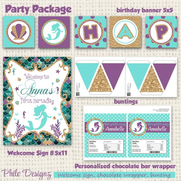 Mermaid Birthday Party Package, Customizable Birthday Decoration. Illustrated with beautiful mermaid, seashells, fish and seahorses. Main colors used are purple, teal and glitter gold. Perfect to c…