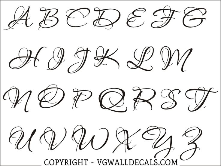 Monogram Wall Decal Single Letter Script Style 2