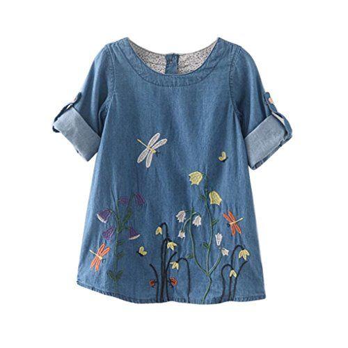 Bekleidung Longra Kleinkind Kinder Baby Mädchen Kleidung Blume Stickerei Muster Denim Kleid Prinzessin Kleider Mädchen Sommer Kleid (2-7Jahre)
