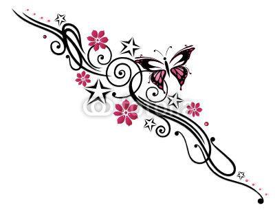 Tattoo, Blumen, Blüten, Schmetterling, pink, rosa