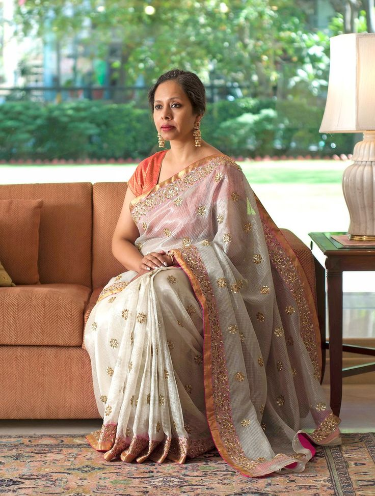 Buy Ecru Handwoven Sequined Kota Tissue Saree With Real Zari by Vidhi Singhania Online at Jaypore.com