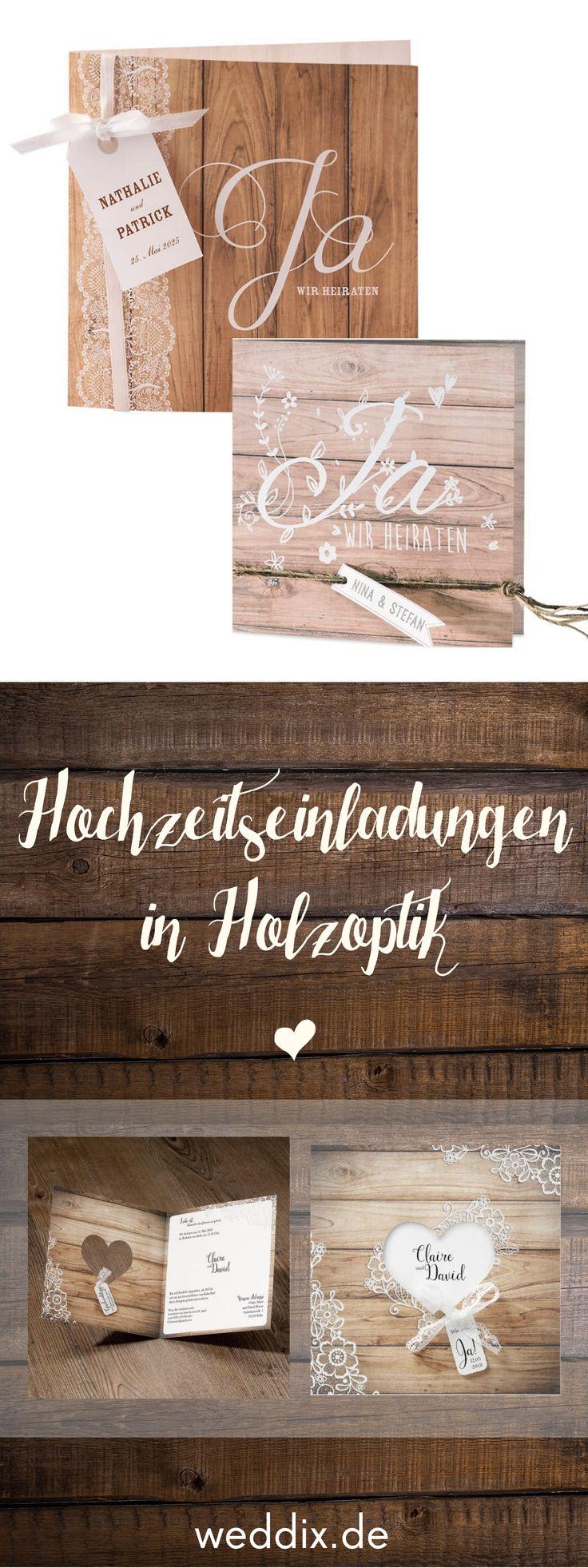 Eine Einladungskarte zur Hochzeit in moderner Holz…