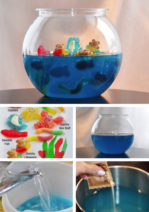 Jelly shot gummy fish bowl with without vodka for Fish bowl recipe