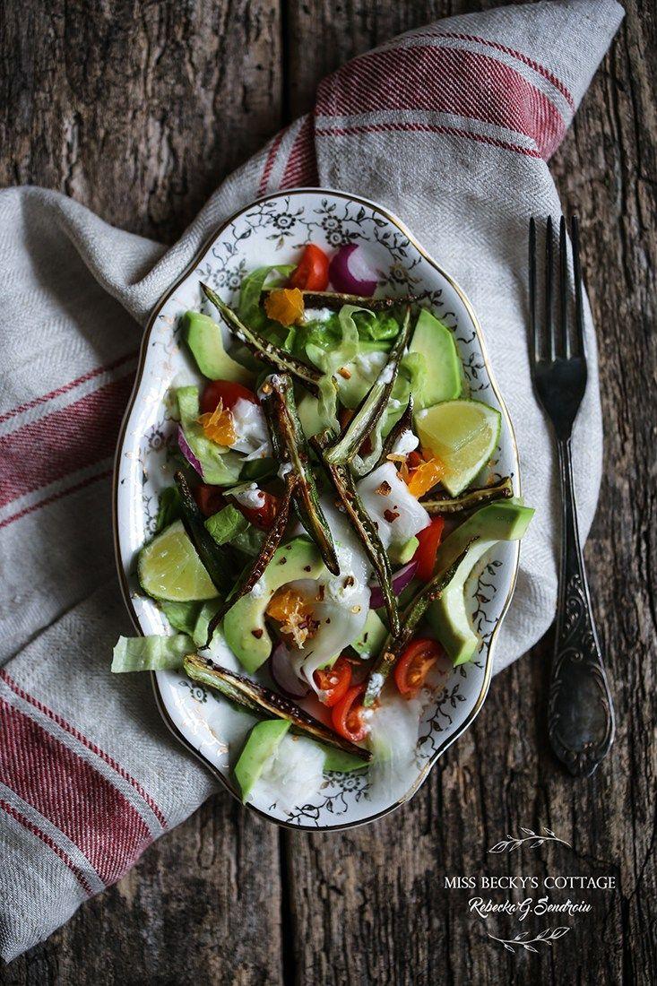 Fried okra, avocado and white turnip salad
