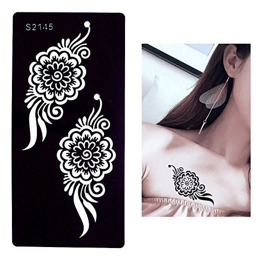 7 Sheets Flower Pendant Henna Tattoo Stencil Temporary Hollow DIY Drawing Body Makeup1