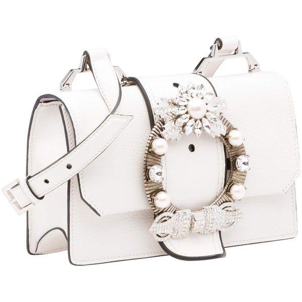 Miu Miu SHOULDER BAG ($1,815) ❤ liked on Polyvore featuring bags, handbags, shoulder bags, magnetic purse, white shoulder bag, jewel purse, shoulder handbags and madras handbag